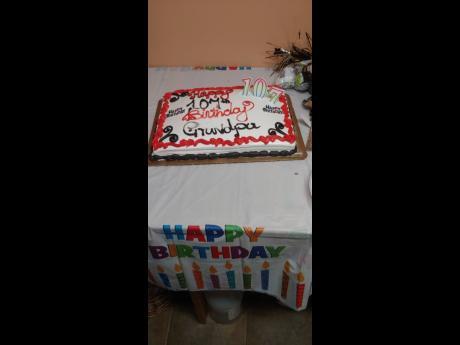The birthday cake for 107-year-old Joseph Leslie Lloyd.